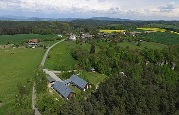 Aerial view to guest house and village Pohor